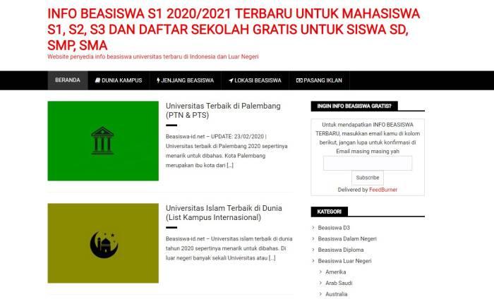Situs penyedia informasi beasiswa kuliah terbaru