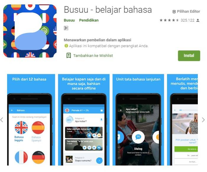 Aplikasi belajar bahasa Inggris Busuu
