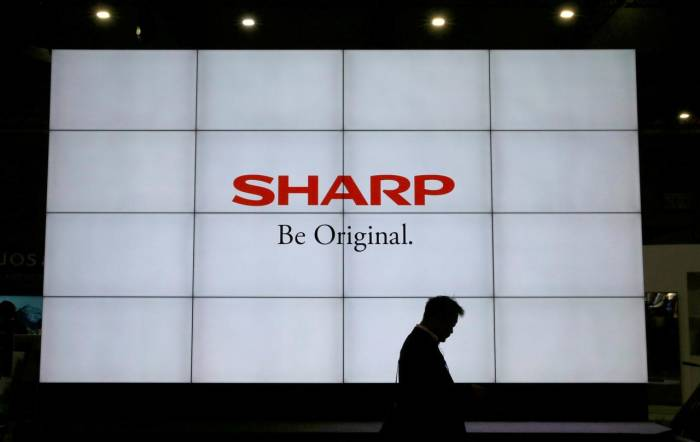 Logo Sharp di sebuah tempat di Chiba, Jepang