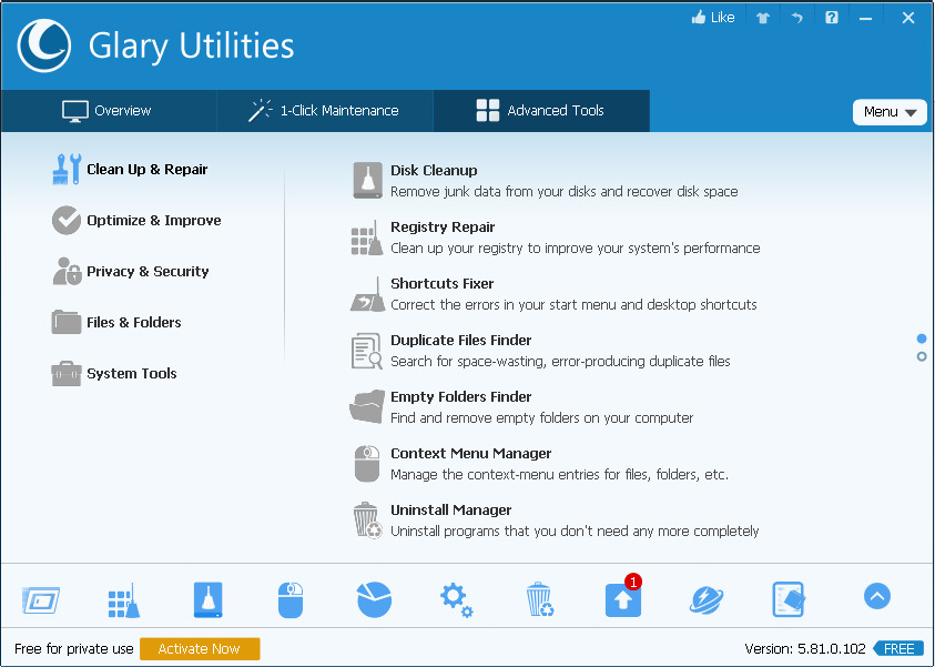 Software penghapus file sampah PC Glary Utilities