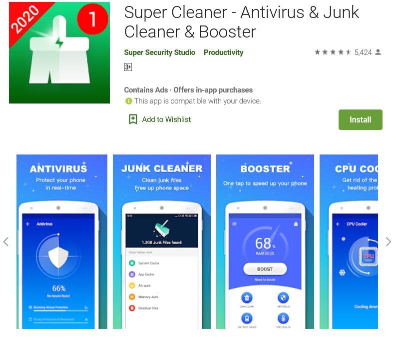 Aplikasi pembersih file sampah Android Super Cleaner