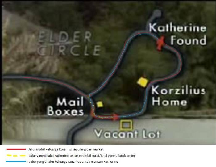 Map lingkungan Elder Circle dan rute keluarga Korzolius