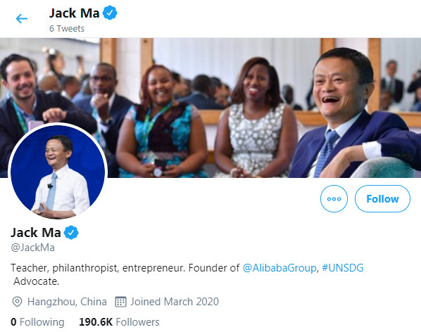 Akun Twitter Jack Ma