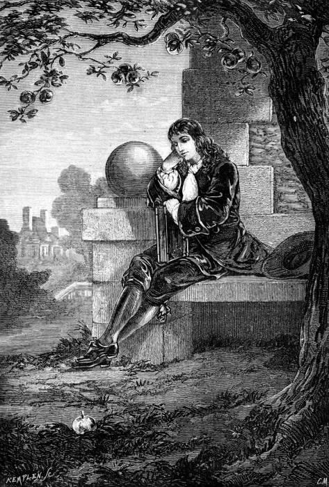 Ilustrasi Issac Newton dan buah apel
