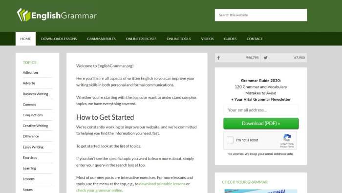 Website online belajar bahasa Inggris English Grammar