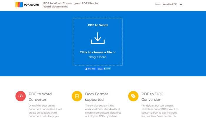 Situs konversi dokumen online PDF2Word