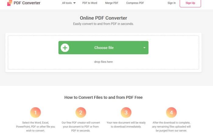 Situs konversi dokumen online Free PDF Convert