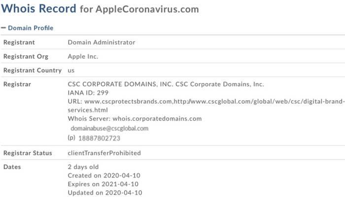 Informasi domain applecoronavirus.com