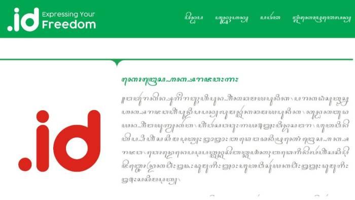 Contoh situs yang menggunakan aksara Jawa buatan Pandi