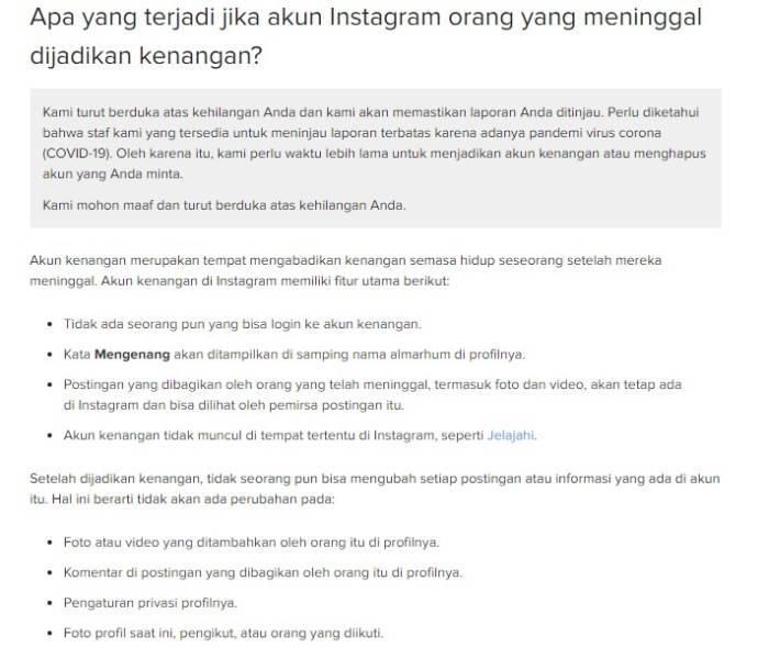 Mengenang akun Instagram yang telah meninggal