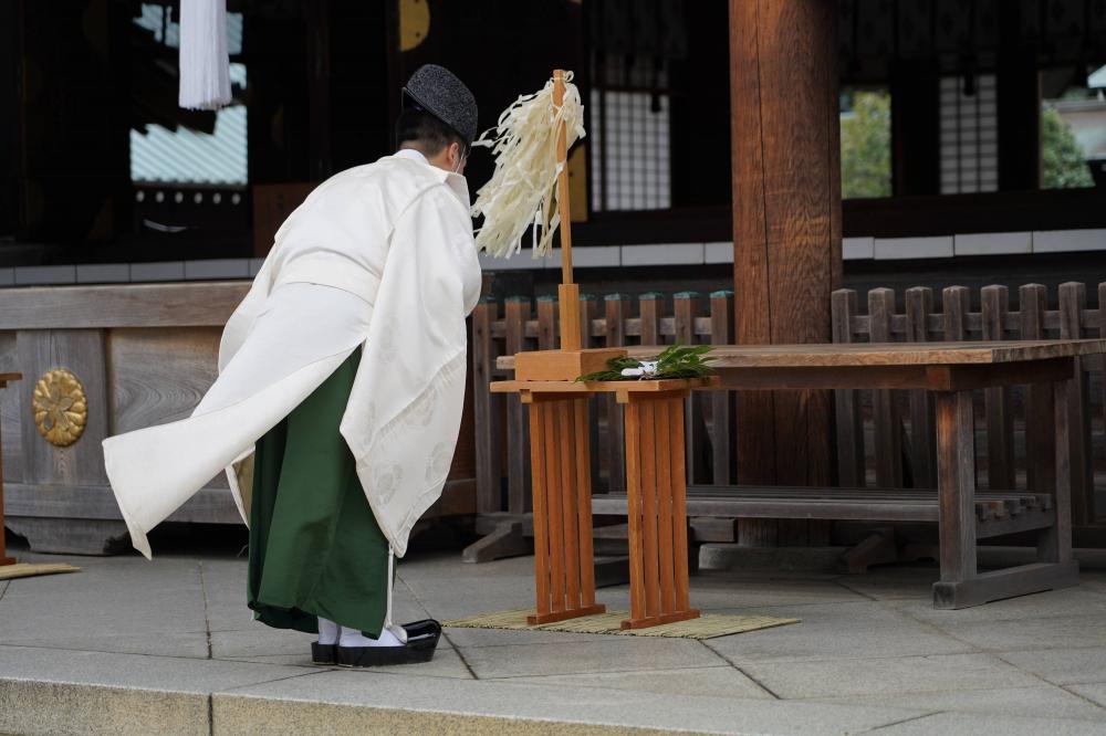Ilustrasi penganut agama Shinto di Jepang