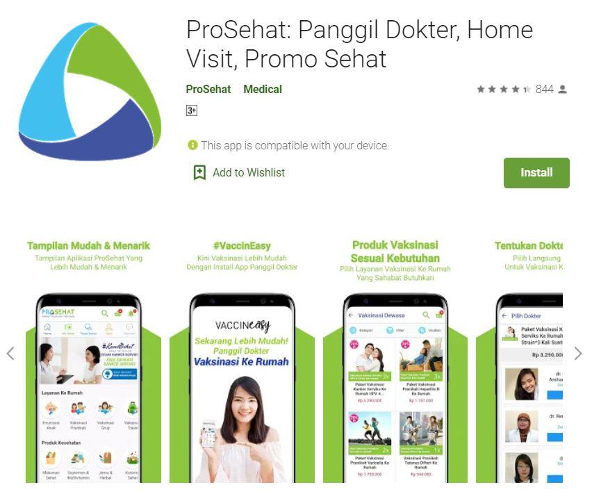Aplikasi kesehatan online terpercaya di Indonesia ProSehat