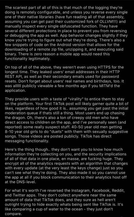 Postingan pengguna Reddit terhadap aplikasi TikTok