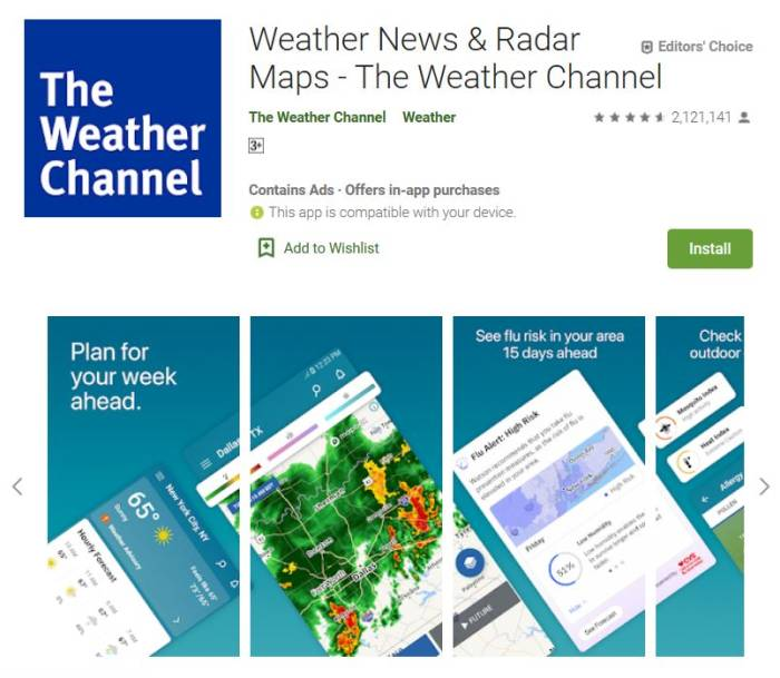 Aplikasi prakiraan cuaca terbaik The Weather Channel