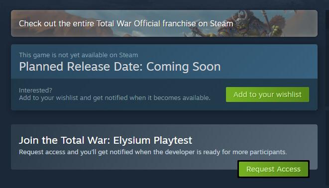 Tombol Playtest atau Request Access di Steam
