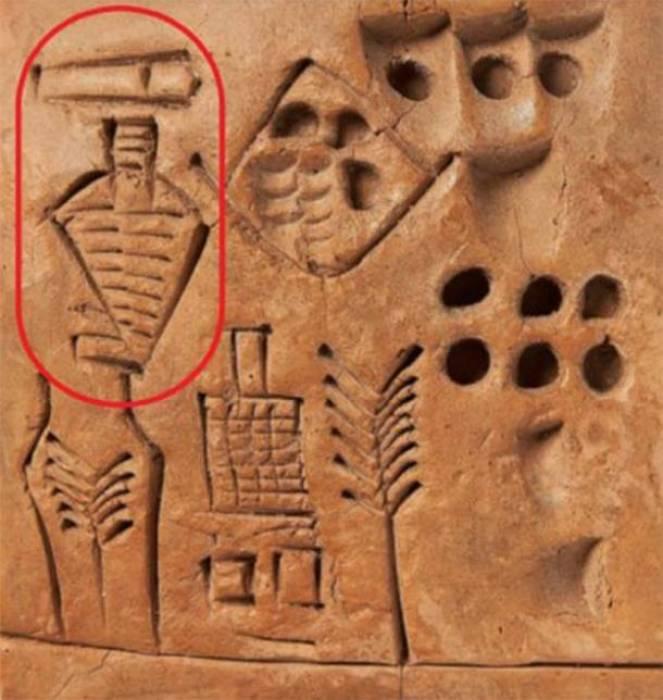 """Posisi """"tanda tangan pertama"""" pada tablet Sumeria yang ditandatangani."""