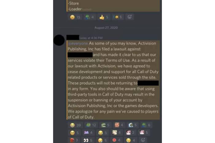 Screenshot Discord dari layanan program cheat di Call of Duty