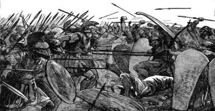 Ilustrasi pasukan Myrmidon dalam Perang Troya. (aminoapps.com)