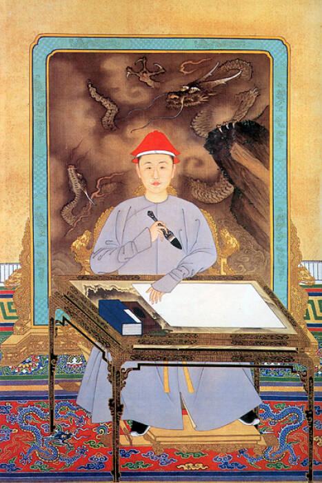 Ilsutrasi potret Kaisar Kangxi.