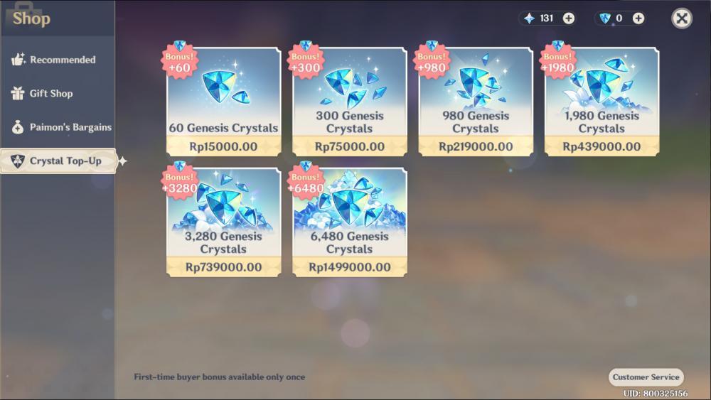 Tampilan menu gacha/microtransaction di game Genshin Impact