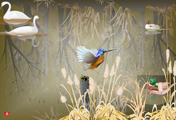Kwikku, Panorama Burung disebuah Danau