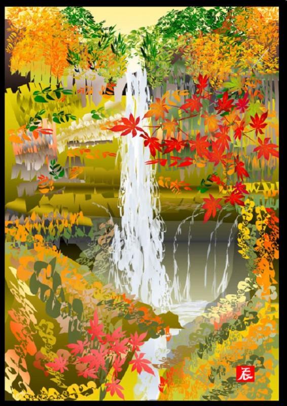 Kwikku, Lukisan Air Terjun pada Musim Gugur