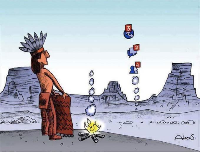 Kwikku, Asap suku Indian yang berubah jadi asap notifikasi karena kemajuan teknologi