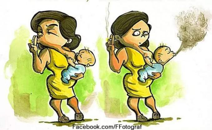 Kwikku, Bahaya rokok bagi ibu yang menyusui karena anaknya juga secara tidak langsung menghisap asap rokok