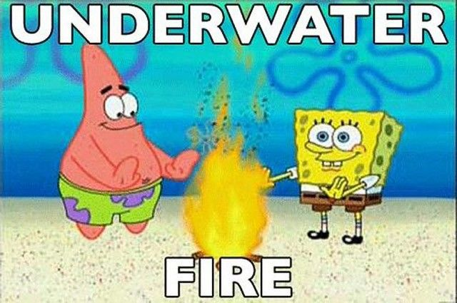 Kwikku, Pernah lihat ada api di dalam air Kalau gak percaya lihat aja Spongebob