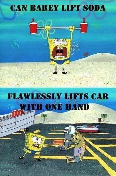 Kwikku, Angkat dua botol soda gak mampu tapi dengan mudahnya mengangkat mobil Oke itu hanya ada di Spongebob