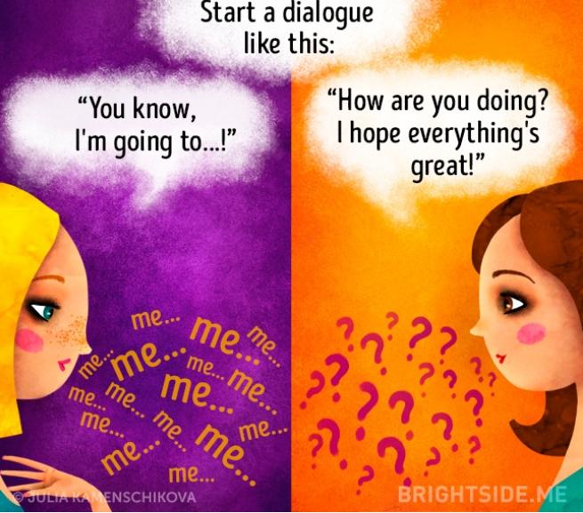 Kwikku, Dalam menjalani percakapan orang yang berpikir negatif akan sering berpikir tentang dirinya sendiri sedangkan yang berpikir positif akan interaktif memberi kesempatan lawan bicaranya mengungkapkan pendapatnya