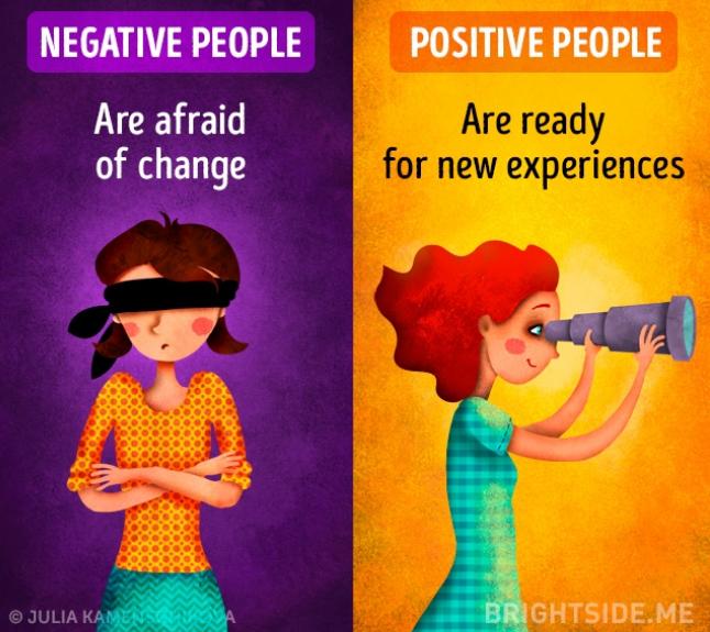Kwikku, Orang yang berpikir negatif takut untuk melakukan perubahan sedangkan si positif akan selalu siap dengan tantangan baru