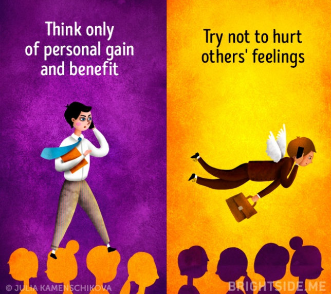 Kwikku, Si negatif cenderung egois demi keuntungannya sendiri sedangkan si positif akan berusaha tidak menyakiti orang lain