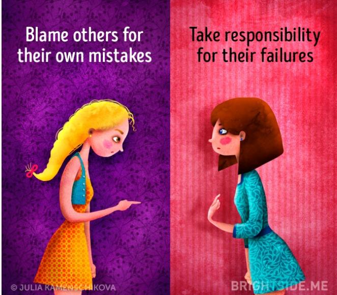 Kwikku, Orang dengan sisi negatif selalu menyalahkan orang lain sedangkan si positif akan mengakui kesalahannya