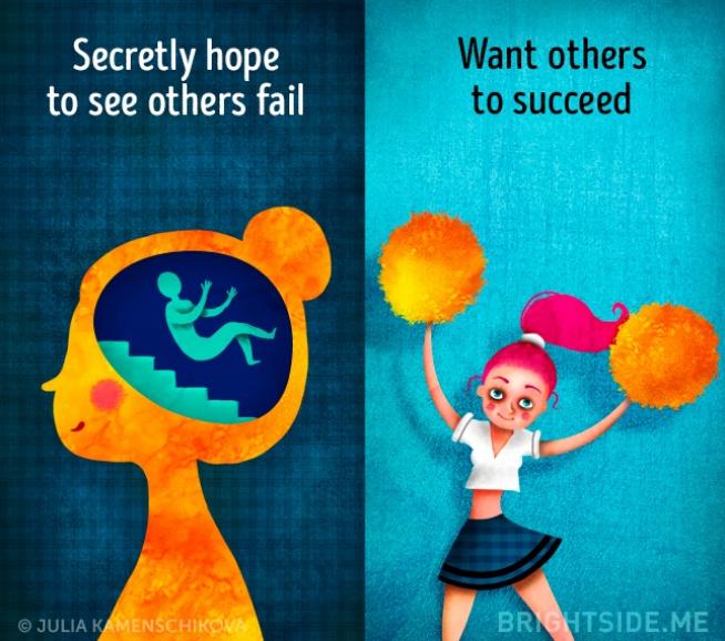 Kwikku, Orang yang berpikir negatif sering kali senang dengan kegagalan orang lain beda dengan si positif yang senang sukses bersamasama
