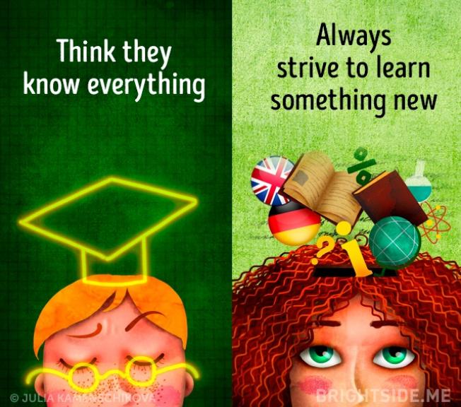 Kwikku, Si negatif pikir dia tahu segalanya tapi si positif akan selalu belajar halhal baru