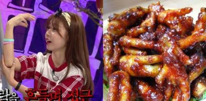 Kwikku, Saat melihat drama Korea seringkali ada adegan memakan ceker ayam yang terlihat lezat Namun jangan harap Sojin Girls Day memakannya dia membayangkan ceker itu akan terbang dan mencakarnya