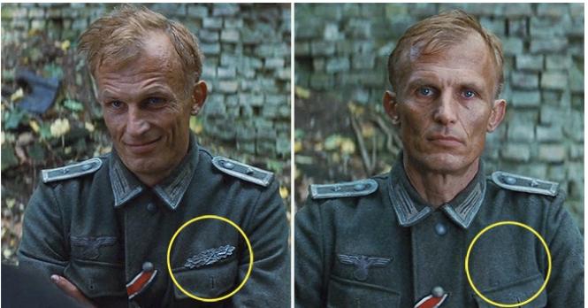 Kwikku, Inglourious Basters terlihat nyata bukan perubahan lencana didada tentara Jerman ini anehnya dari awalanya ada lencana tibatiba menghilang diadegan selanjutnya