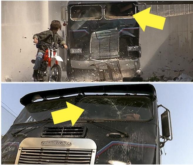 Kwikku, Terminator  Judgement Day masih difilm yang sama T mengejar John Connor menggunakan truk yang jatuh dari atas jembatan Sempat terlihat kaca truk itu pecah namun kembali bagus diadegan berikutnya
