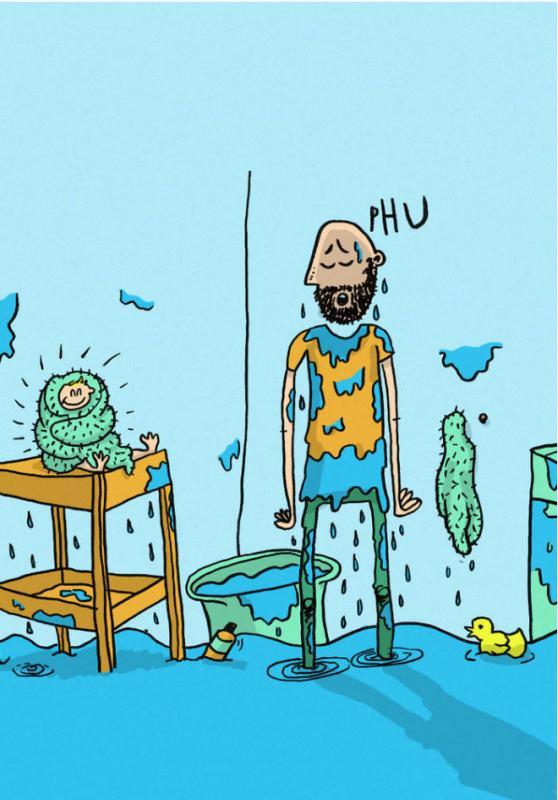Kwikku, Kadang suka nggak sabaran kalau memandikan anak banjir kan jadinya