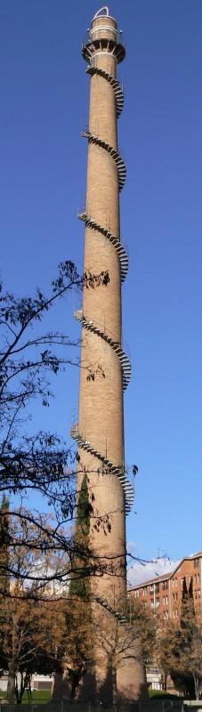 Kwikku, Tangga spiral di cerobong asap
