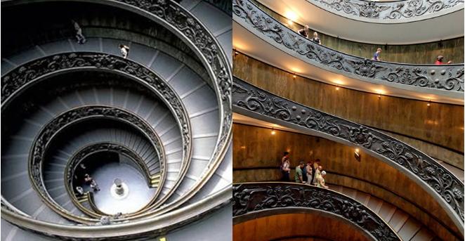 Kwikku, Tangga unik ini berada di museum Vatican yang disertai ukiran disetiap sisinya