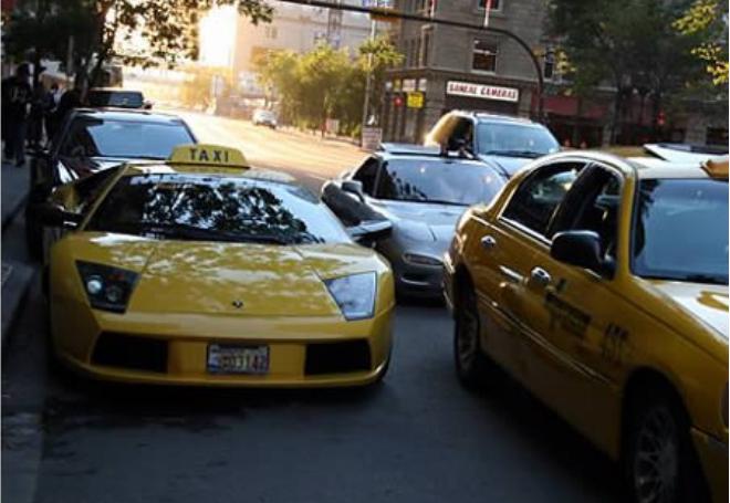 Kwikku, Kamu juga bisa menaiki taksi lamborghini seperti ini