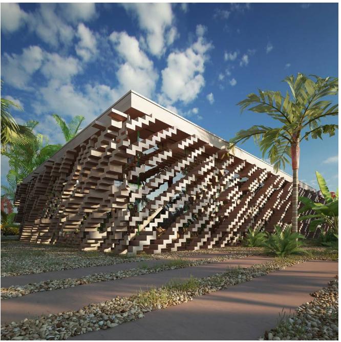 Kwikku, Susunan tangga yang membentuk dinding sehingga menjadi bangunan bisa kamu temukan di New Caledonia