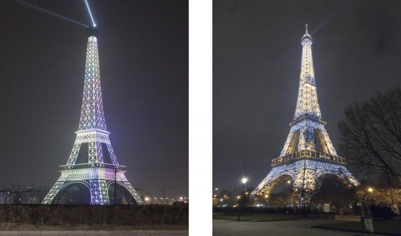 Kwikku, Menara Eiffel disana juga bisa menyala