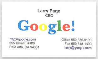 Kwikku, Larry Page pendiri Google dengan kartu namanya yang juga ada logo warnawarni Google
