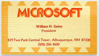 Kwikku, Yang ini adalah kartu nama milik pendiri Microsoft Bill Gates dengan ornamen dan pewarnaan yang menarik perhatian