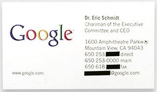 Kwikku, Eric Schmidt yang juga salah satu tetua di Perusahaan Google dengan kartu namanya yang sederhana