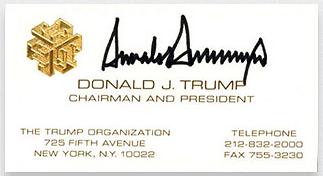 Kwikku, Yang ini adalah kartu nama Donald Trump sebelum menjadi Presiden Amerika Serikat
