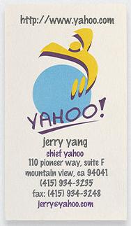 Kwikku, Ada juga kartu nama miliki pendiri Yahoo Jerry Yang dengan logonya yang unik dan posisinya yang memanjang keatas